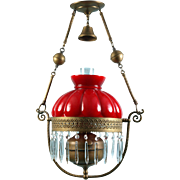 Antique Victorian Ruby Red Brass Crystals prisms hanging Library Oil lamp