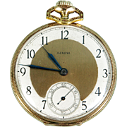 WORKING Solid 14k Gold Vintage Swiss GENEVA Remontoir Ancre Pocket Watch