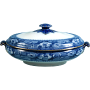 ANTIQUE 1876 Flow Blue KHAN Bishop and Stonier Bisto Tureen Super hard to find pattern