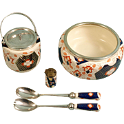 BLOOR DERBY Imari Gaudy Welsh Silver Biscuit Barrel Salad Bowl Servers