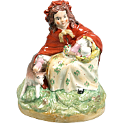STAFFORDSHIRE Pottery 1860s Little Red Riding Hood & wolf Figurine Victorian