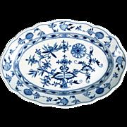 Meissen Porcelain Blue Onion Oval Serving Platter Crossed Swords