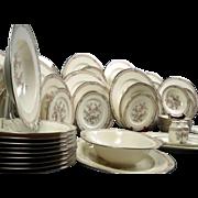 SALE Huge Noritake IMPERIAL GARDEN Bone China Dinner Set Silver