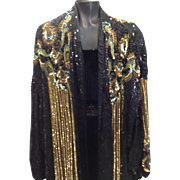 Vintage Judith Ann long oversized occasion sequins jacket sz large