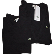 Authentic LACOSTE Knitted Sweater Set - Long Sleeve Cardigan & Short Sleeve Top - Classic Blac