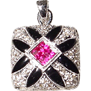 Fascinating Invisible Set Red Ruby Black Onyx Diamond White Gold Pendant 18 KT - Lovely Square