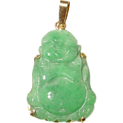Buddha Green Jade Pendant 14KT Yellow Gold - Lush Apple Green Jade - Status of Buddha - Vintag