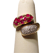 Vintage Bypass Band Red Ruby and Diamond Ring 14 KT Yellow Gold - Unique