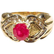Stately Double Hearted Setting Red Ruby Diamond Ring 14 KT Yellow Gold - Etruscan - Valentine'