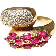 SALE Vintage Bypass Band Red Ruby and Diamond Ring 14 KT Y-Gold - Unique