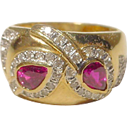 SALE Wonderful Red Ruby & Diamond Ring 18 KT Yellow Gold - Dome Band - Engraved