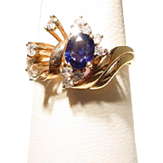 SALE Lovely Flower Blue Sapphire Diamond Ring 14KT Y-Gold Fine Stones -Vintage