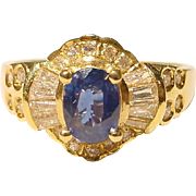SALE Elegant Blue Sapphire Diamond Ring 18 KT Yellow Gold - Lovely Victorian Style