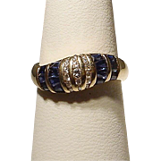 Wonderful Band Blue Sapphire Diamond Ring 14KT Yellow Gold