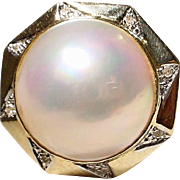 SALE Metro Ring Huge Cultured Mabe Pearl 14 KT Y-Gold with Diamonds - 20 MM ...