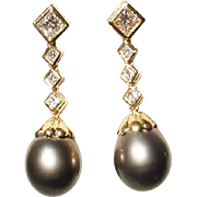 Extra Charm Tahitian Black Pearl & Diamond Earrings -18KT Yellow Gold - Natural Pearl Drops 14
