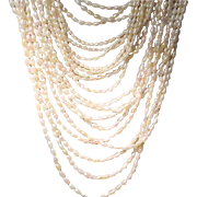 SALE Various Length - Cultured Fresh Water Biwa Pearl Necklace w/ Tri-Colored 14KT Gold Clasp