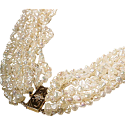 Exquisite Fine Keish Fresh Water Pearl Necklace 14 KT Y-Gold Diamond Clasp - Extra Length ...
