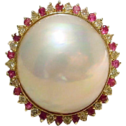 SALE Cultured Mabe Pearl Ring 14KT Yellow Gold -- Rubies and Diamonds Surrounded -- Princess .