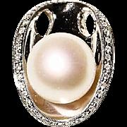 Brimming South Sea Pearl Diamond Pendant 18 KT W-Gold - Classy & Modern - 13 MM