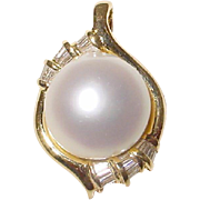 South Sea Pearl Pendant /Enhancer with Diamonds 18 KT Yellow Gold - 16 MM - Natural Silver ...