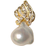 Lovely South Sea Pearl & Diamond Pendant 18 KT Yellow Gold - Silver Gray Baroque Unique