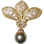 Art Nouveau Ornate Tahitian Black Pearl Diamond Brooch /Pendant /Slide 18KT Yellow Gold - 15 M