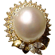 Amazingly Stunning South Sea Pearl Diamond Ring 18 KT Y- Gold - Slate Gray Pearl Round ...