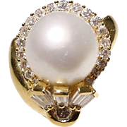 Extremely Elegant South Sea Pearl Diamond Ring 18 KT Y- Gold - Silver Gem Pearl Round ...