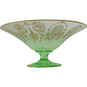 Cambridge Glass light emerald bowl with gold-encrusted early etch