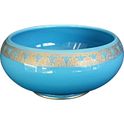 Cambridge Glass Azurite Bowl with Gold Encrusted Etch