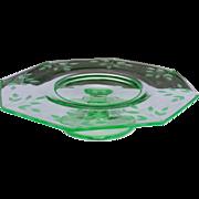 SOLD Green Depression Etched Glass Pedestal  Serving Plate Cake Plate