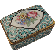 Antique Blue Hand Painted Floral French Enamel Porcelain Trinket Box / French Enamel Snuff Box