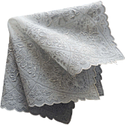 Embroidered White Linen Floral Appenzell Style Wedding Hankie / Bridal Hankie / Heavily Embroi