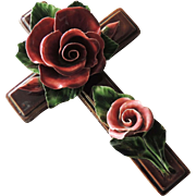 Antique French Rose Floral Ceramic Cross / Glazed Terracotta Rose Cross / Moument Cross / Deco