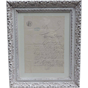 Antique 1800s Framed French Legal Document / Old French Land Deed Document