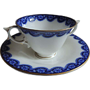 Antique ROYAL WORCESTER Flow Blue Bouillon Cream Soup Bowl & Saucer / Bouillon Cup and Saucer