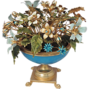JANE HUTCHESON Vintage Jeweled Flowers and Blue Opaline Paw Footed Pedestal Urn ~ Fleurs des S