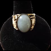 Vintage Chinese Dragon Jade 14 Karat Gold  Ring