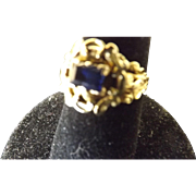 Very Rare Georgian 18 Karat Gold Sapphire Ring   C. 1786