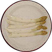 SALE Antique French Sarreguemines Majolica Asparagus Plates, 4 Available