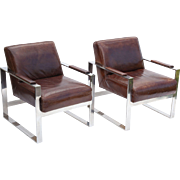 Pair Art Deco Leather Club Chairs