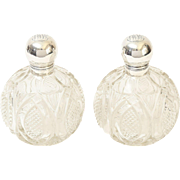 Pair Crystal & Sterling Perfume Bottles, 19th-Century, England