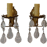 French Crystal Wall Sconces, Pair, Wired