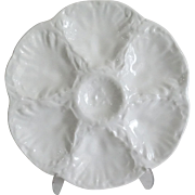 French Gien White Majolica Oyster Plate, 6 Available