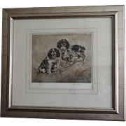 Pair of Spaniels Signed & Numbered Etching, Henry Wilkinson
