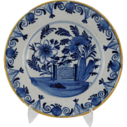 18th-Century Delft Floral Plate