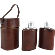 Whiskey & Gin Spirits Flasks in Leather Case