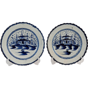 Antique Pearlware Plates English Chinoiserie Pagoda, Pair, Pearl Ware