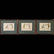 Rapier Fencing Lithographs, Set of 3, Gwyn Delin, Artist, Free Shipping